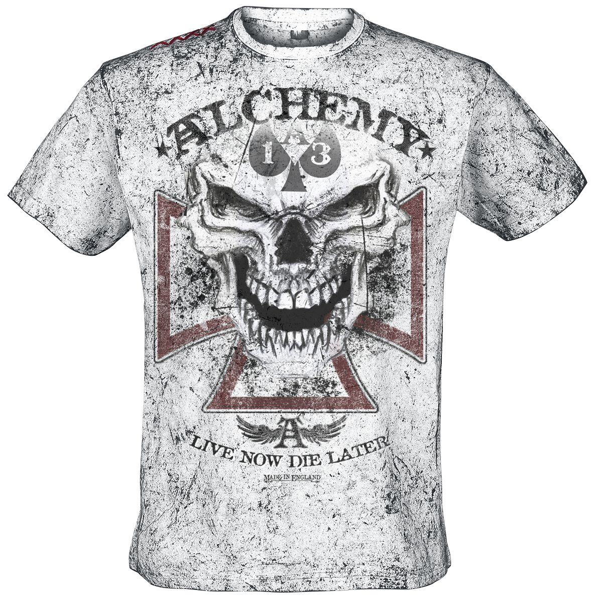 Image of   Alchemy England Reaper Cross T-Shirt hvid