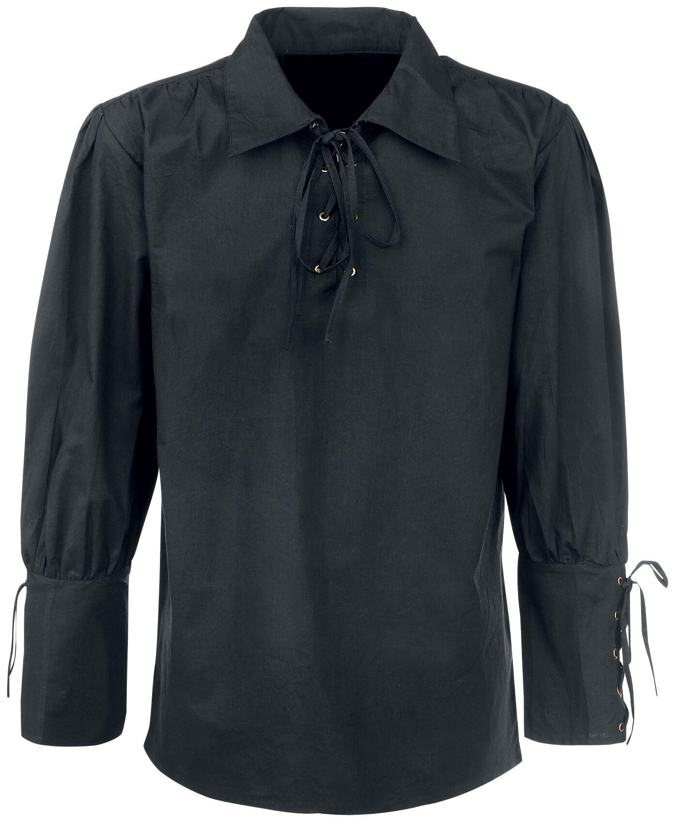 Motyw - Koszule z długim rękawem - Koszula Medieval Koszula z wiązaniem Koszula czarny - 315078