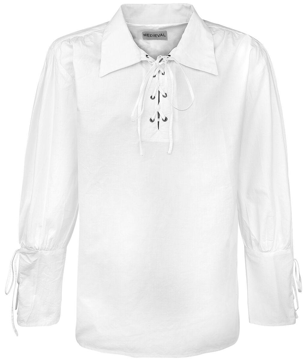 Motyw - Koszule z długim rękawem - Koszula Medieval Koszula z wiązaniem Koszula biały - 315080