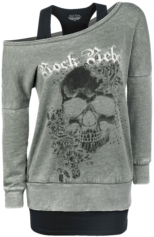 Rock Rebel by EMP 2 in1 Burnout Sweatshirt Bluza damska oliwkowy