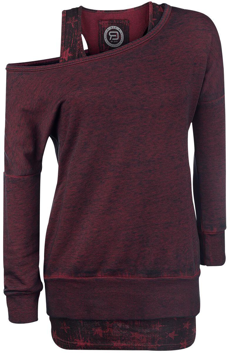 Image of   RED by EMP 2 in1 Burnout Sweatshirt Girlie sweatshirt bordeaux
