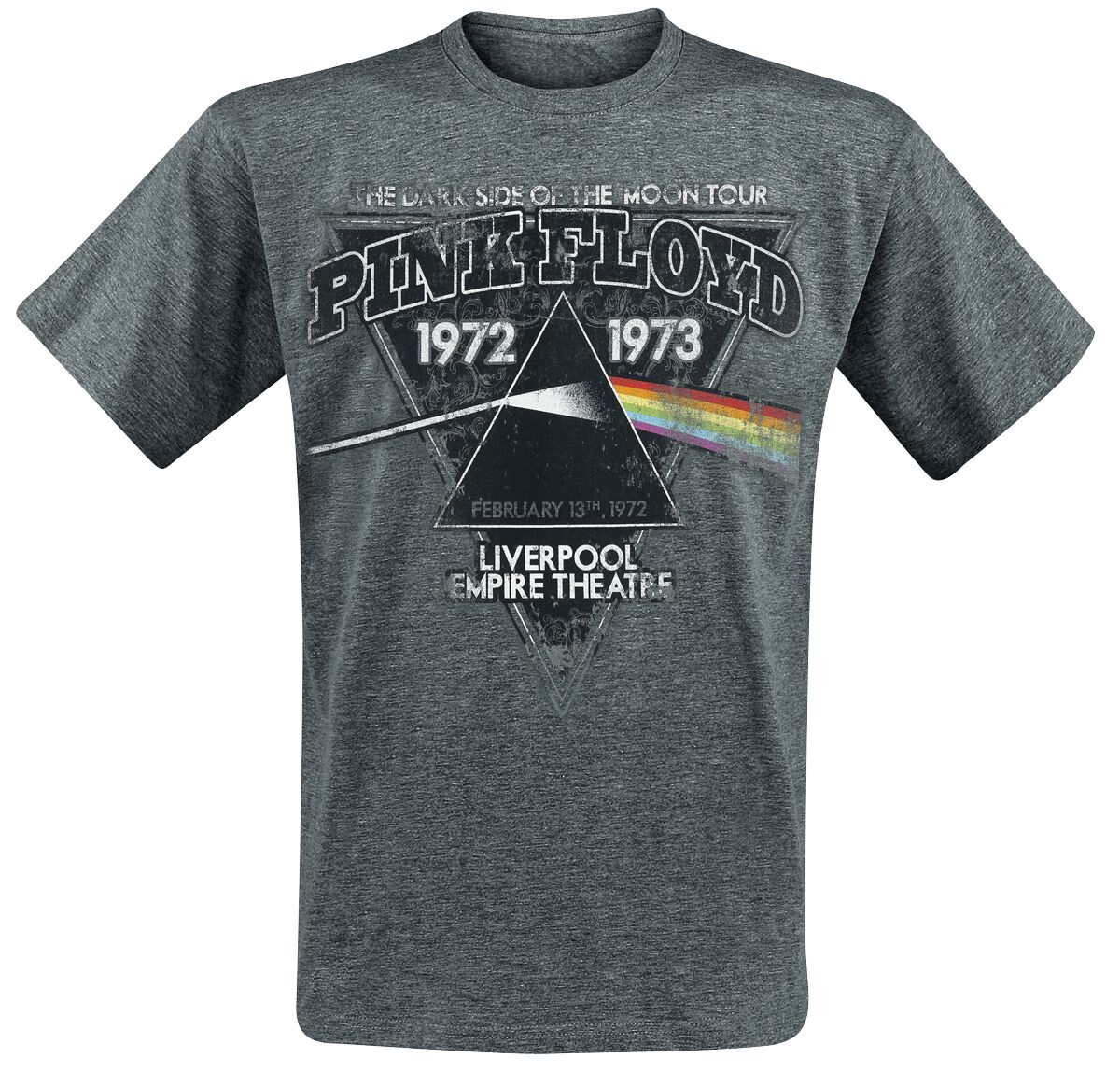 Image of   Pink Floyd Dark Side Of The Moon - Liverpool 1972 T-Shirt grålig