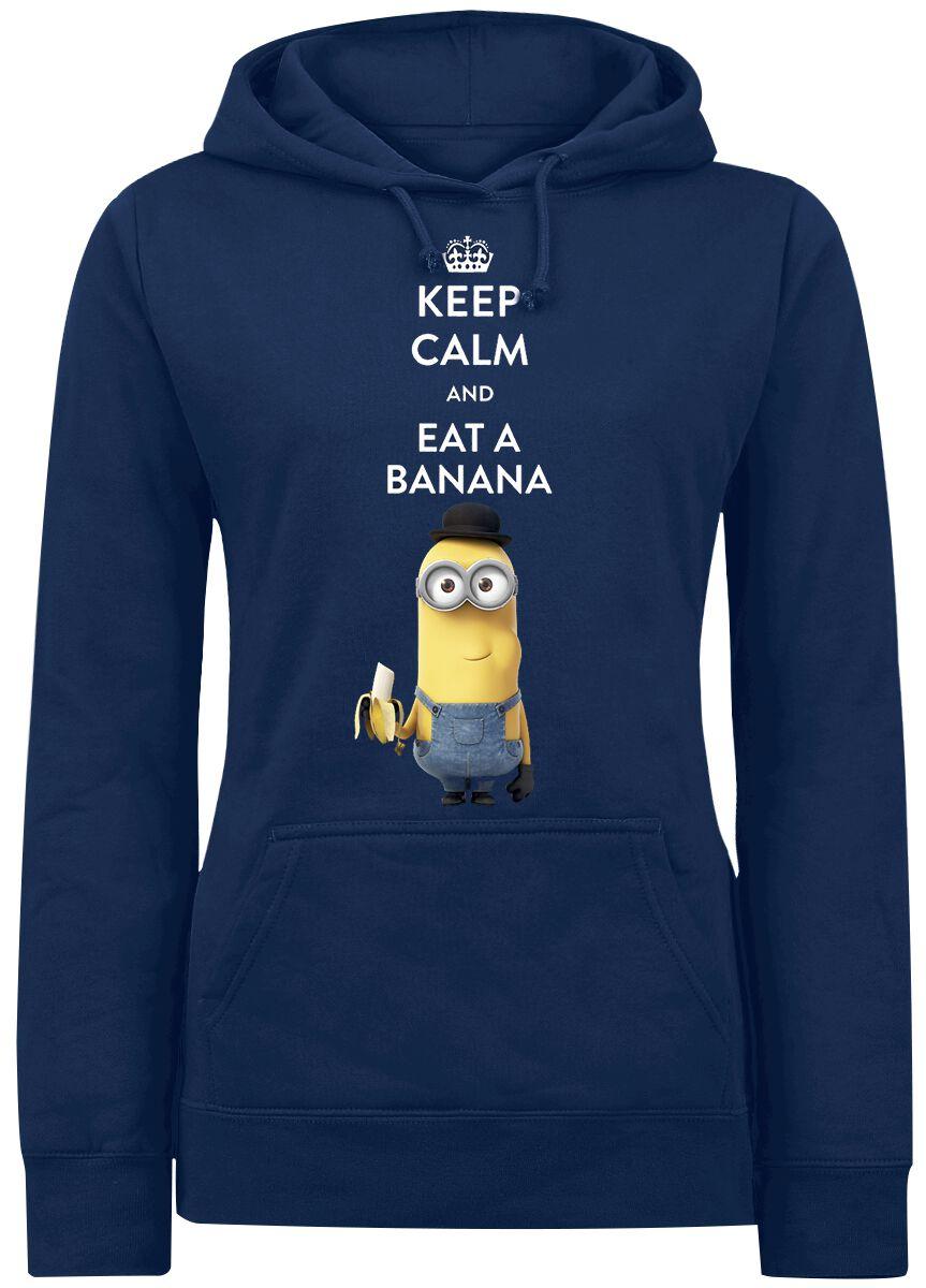Image of   Minions Keep Calm And Eat A Banana Girlie hættetrøje mørk blå