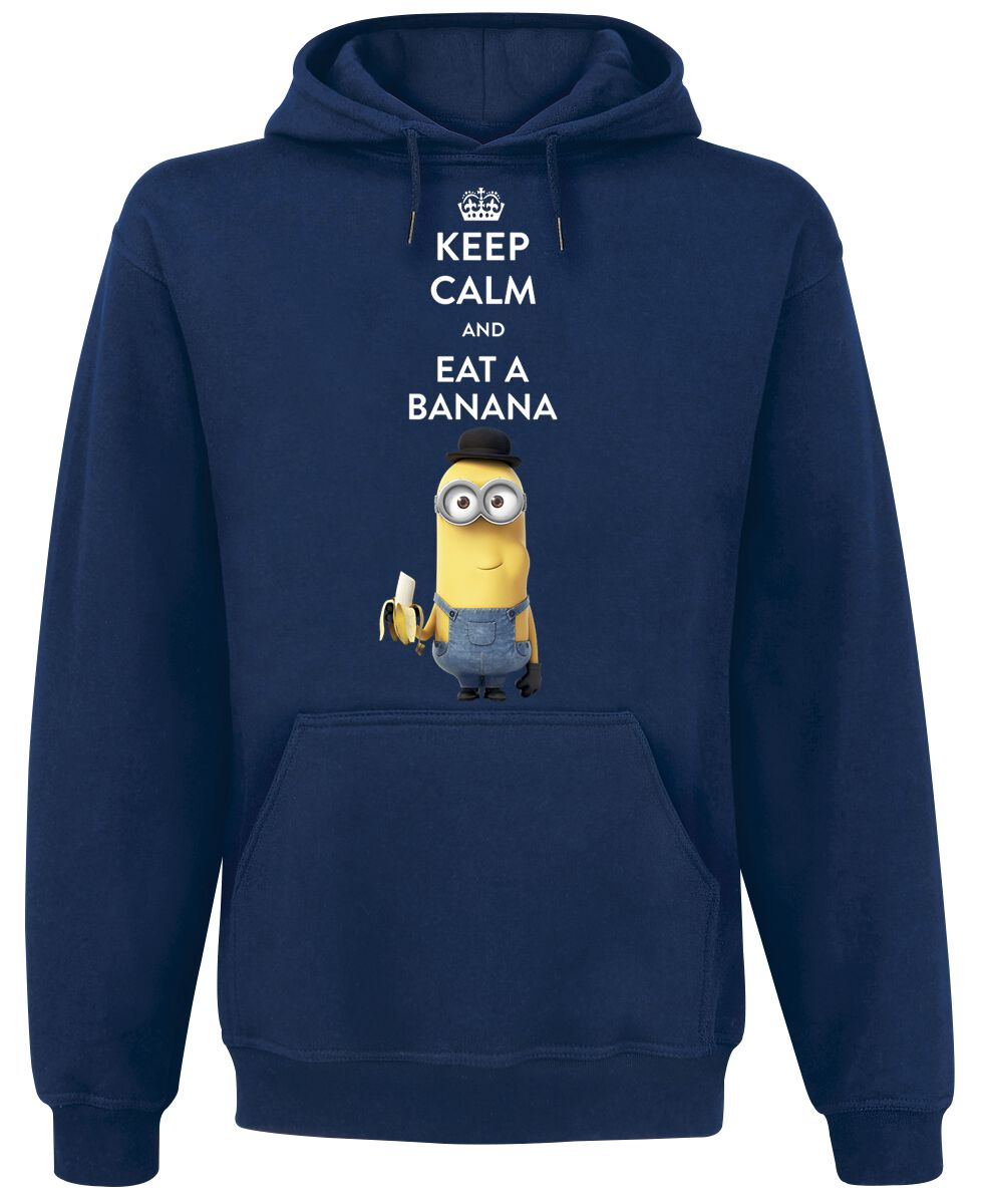 Image of   Minions Keep Calm And Eat A Banana Hættetrøje mørk blå
