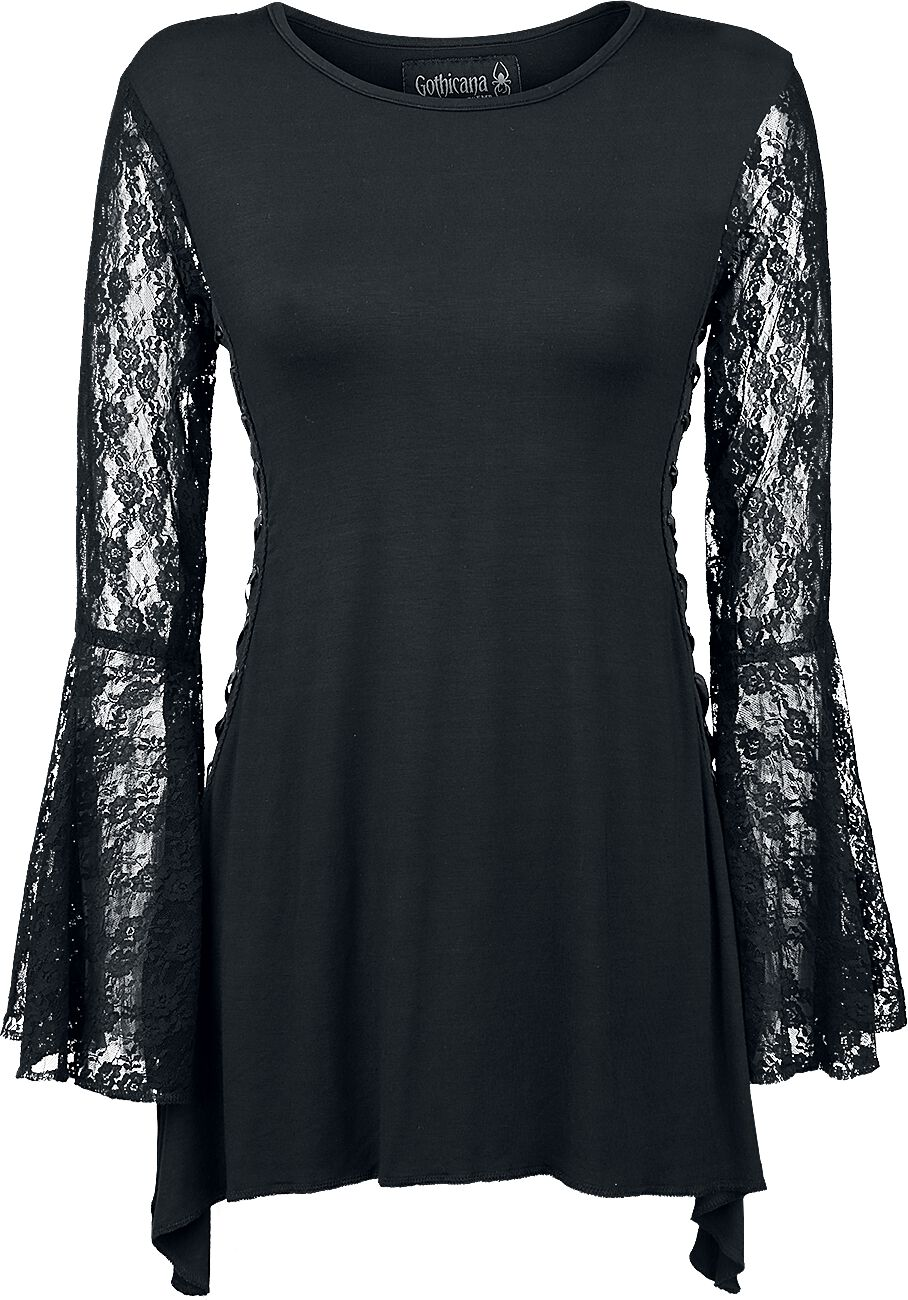 Image of   Gothicana by EMP Angel Sleeve Shirt Girlie langærmet sort