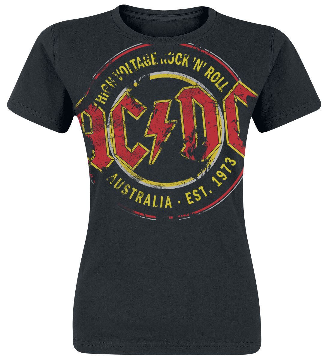 Image of   AC/DC High Voltage - Australia Est. 1973 Vintage Girlie trøje sort