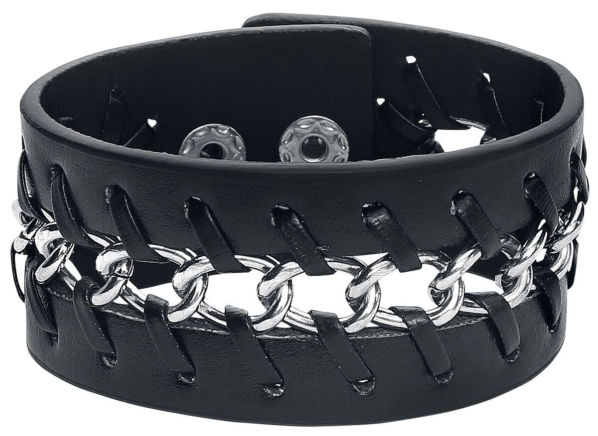 Basics - Bransoletki - Bransoletka skórzana Braided Chain Leather Bracelet Bransoletka skórzana standard - 318429