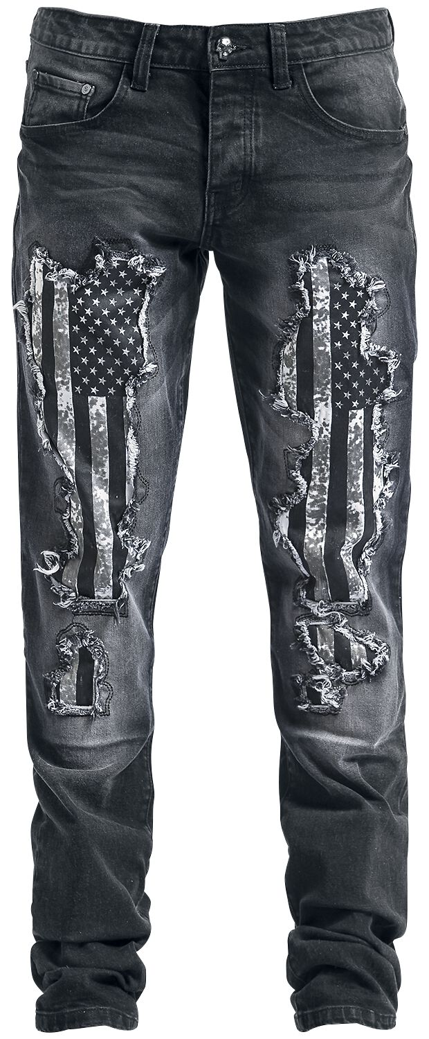 Image of   Rock Rebel by EMP Flag Pete (Straight Fit) Jeans sort