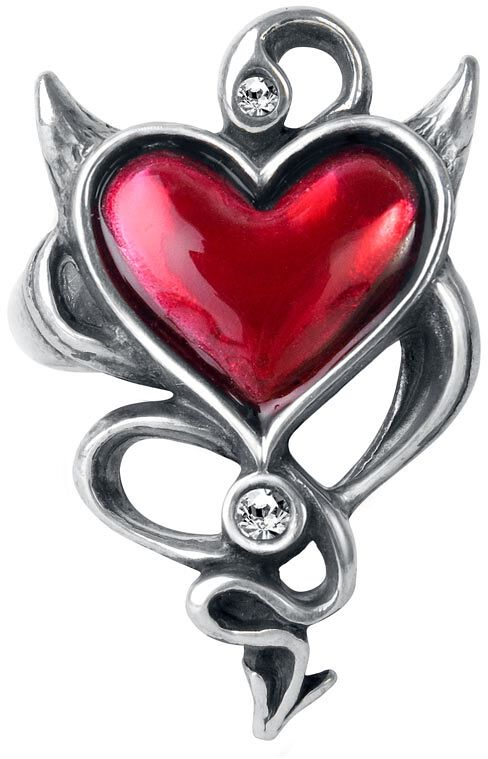 Image of   Alchemy Gothic Devil Heart Ring Ring Standard