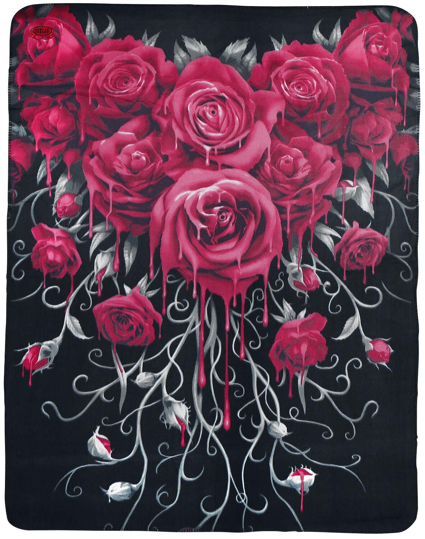 Image of   Spiral Blood Rose fleecetæppe Fleecetæppe sort
