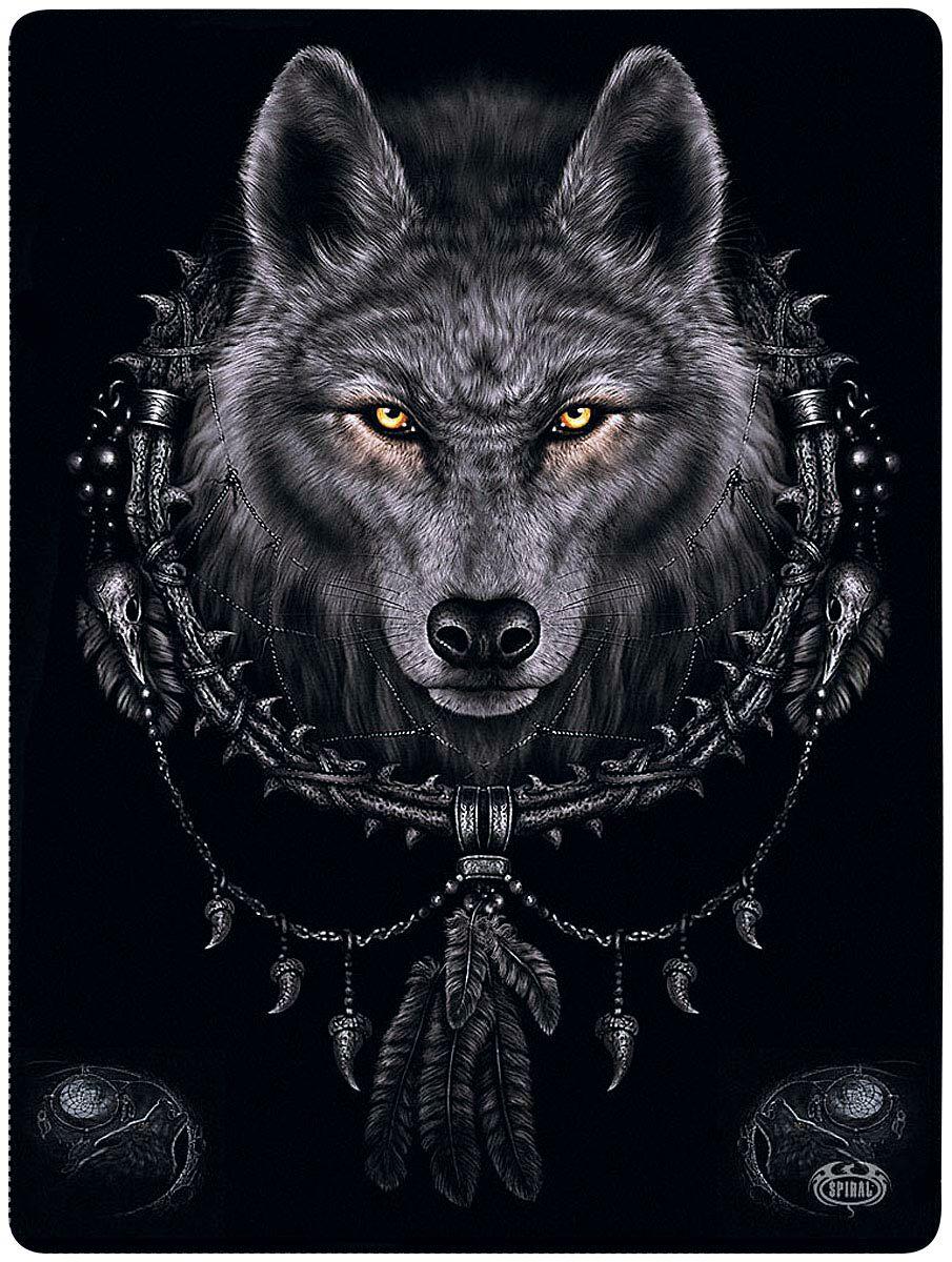 Spiral Wolf Dreams Fleecedecke  Decke  schwarz