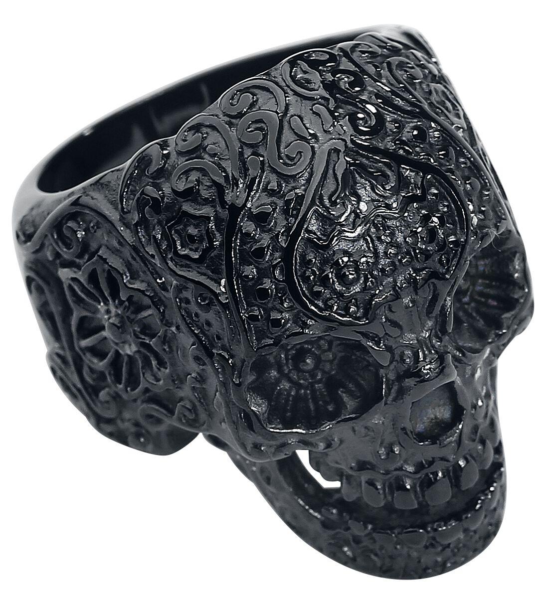 Ringe für Frauen - Wildcat Skull Tattoo Ring schwarz  - Onlineshop EMP