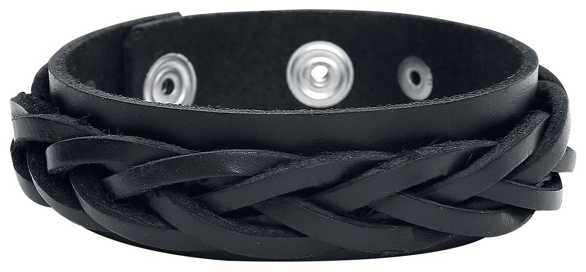 Basics - Bransoletki - Bransoletka skórzana Braided Strap Bracelet Black Bransoletka skórzana standard - 319448