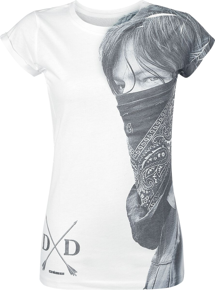 Image of   The Walking Dead Daryl Dixon - Large Face Bandana Girlie trøje hvid