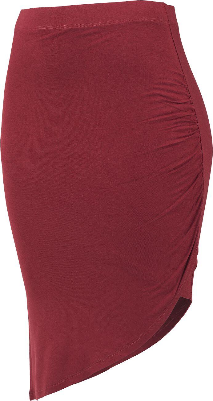 Roecke für Frauen - Urban Classics Ladies Asymetric Viscose Skirt Rock burgund  - Onlineshop EMP