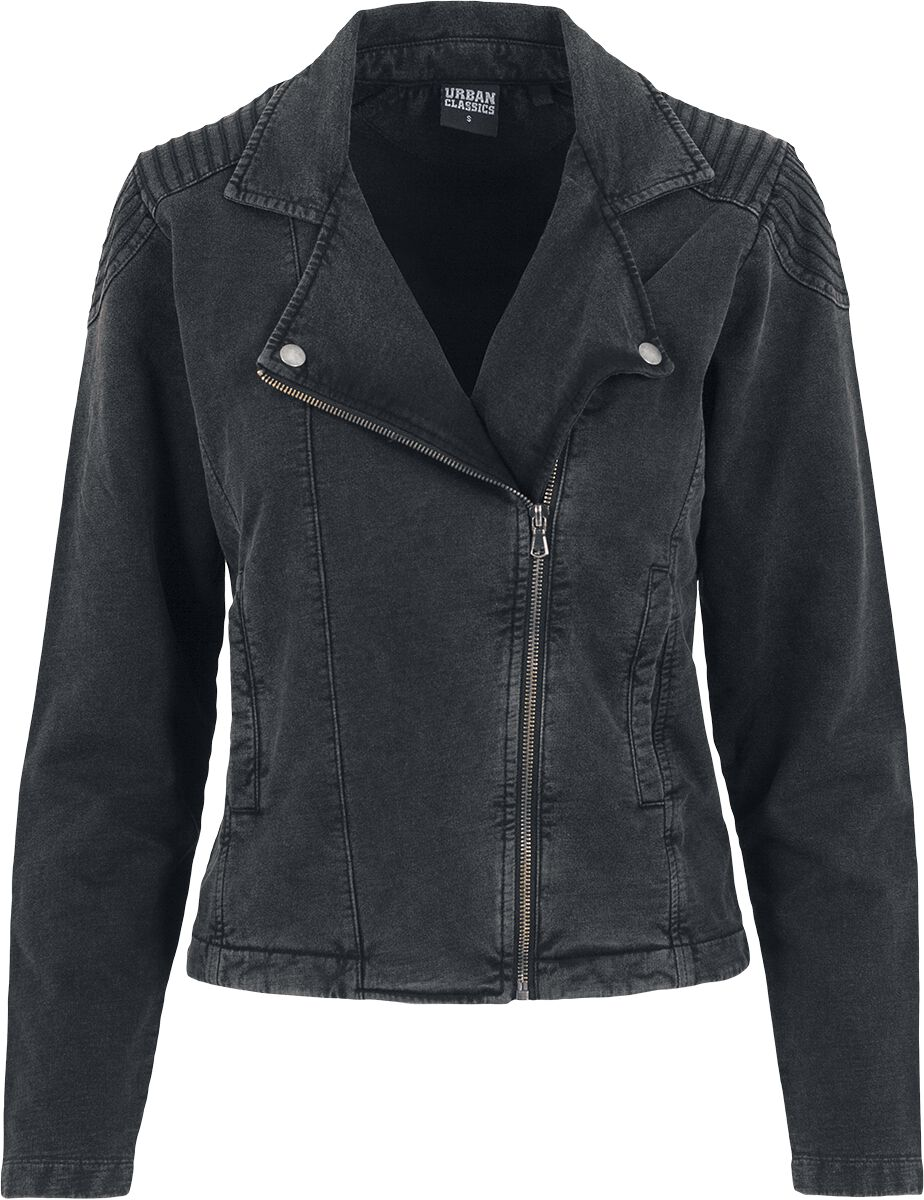 Image of   Urban Classics Ladies Acid Wash Terry Biker Jacket Girlie jakke mørk grå