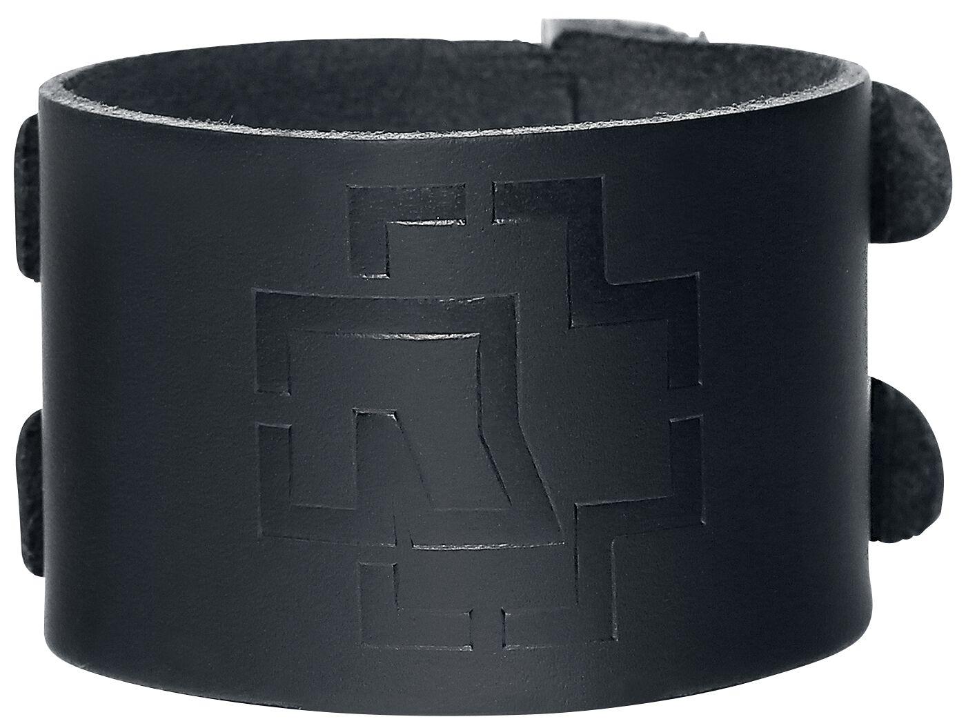 Image of   Rammstein Logo Læderarmbånd sort