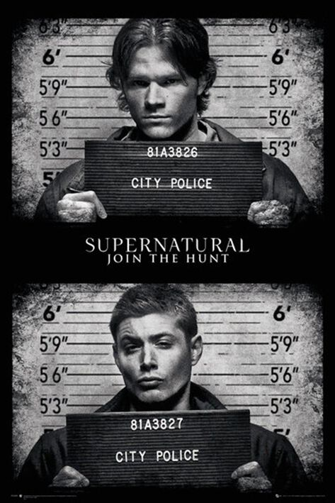 Image of   Supernatural Mug Shots Plakat sort-hvid