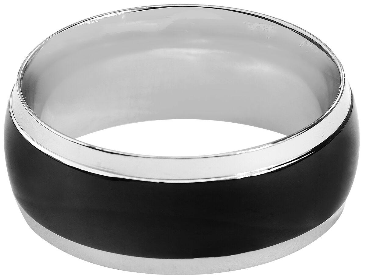 Ringe für Frauen - Rock Silver Black Band Ring Standard  - Onlineshop EMP