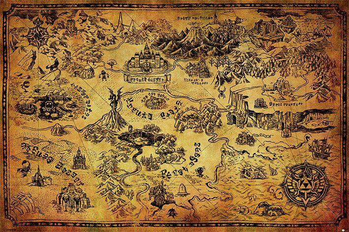 Image of   The Legend Of Zelda Hyrule Map Plakat multifarvet