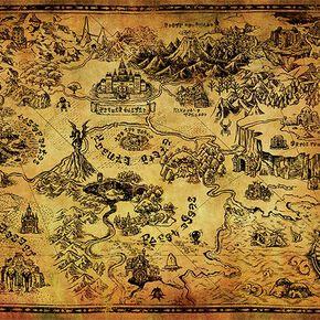 The Legend Of Zelda Carte d'Hyrule Poster multicolore