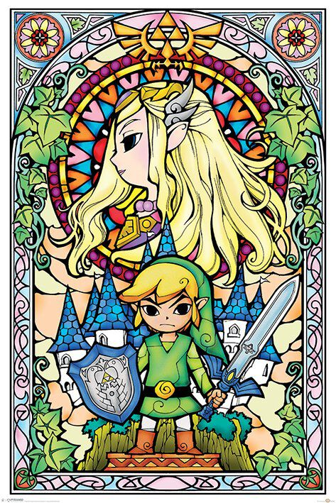 Image of   The Legend Of Zelda Stained Glass Plakat Standard