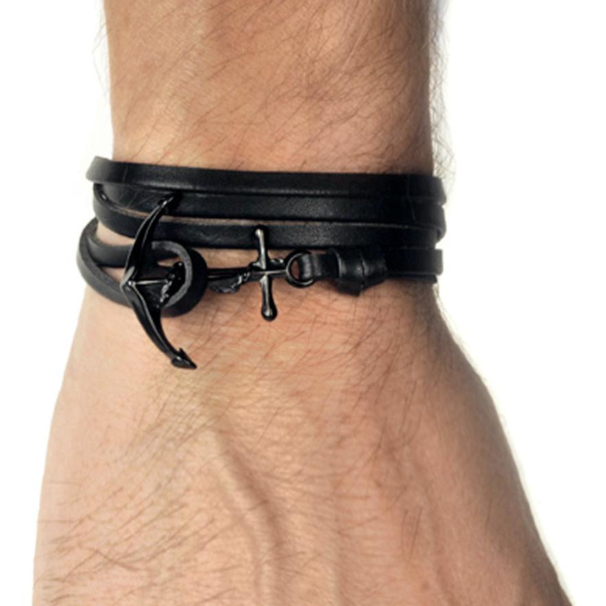 Wildcat-Black-Leather-Anchor-Leather-bracelet-Standard