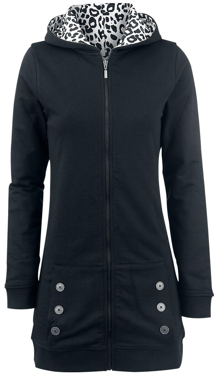 Marki - Bluzy z kapturem - Bluza z kapturem rozpinana damska Pussy Deluxe Black Longsweater Coat With White Leo Lining Bluza z kapturem rozpinana damska czarny - 325163