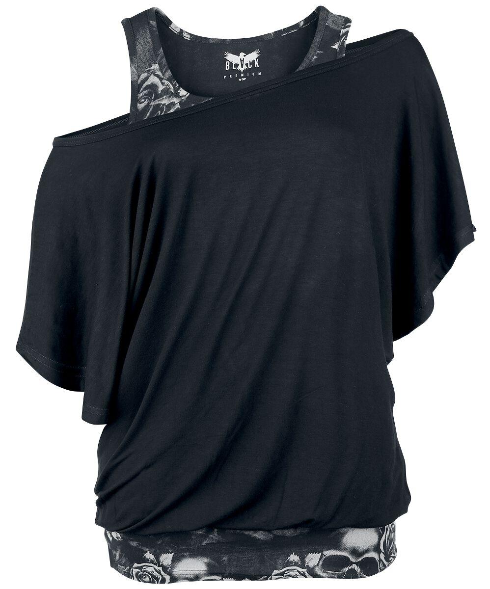 Image of   Black Premium by EMP Bat Double Layer Girlie trøje sort-grå