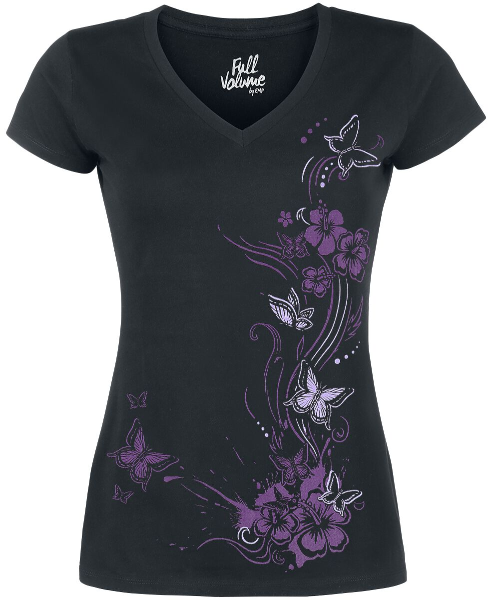 Image of   Full Volume by EMP Butterflies V-Neck Girlie trøje sort