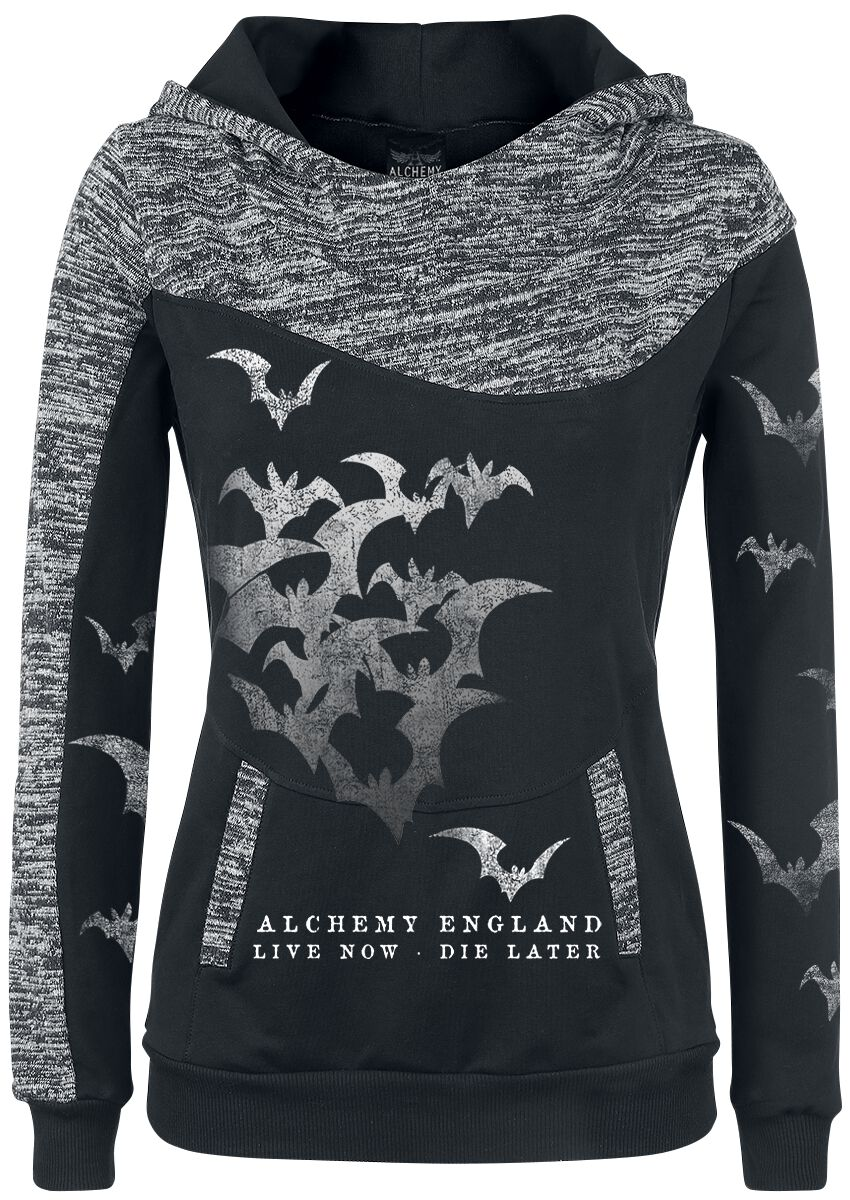 Image of   Alchemy England Bats Attack Girlie hættetrøje sort-grålig