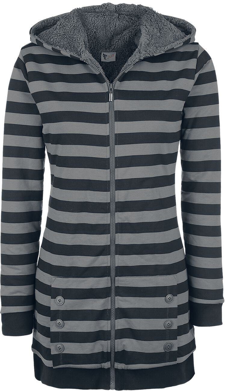 Pussy Deluxe Striped Fleece Coat Bluza z kapturem rozpinana damska czarny/szary