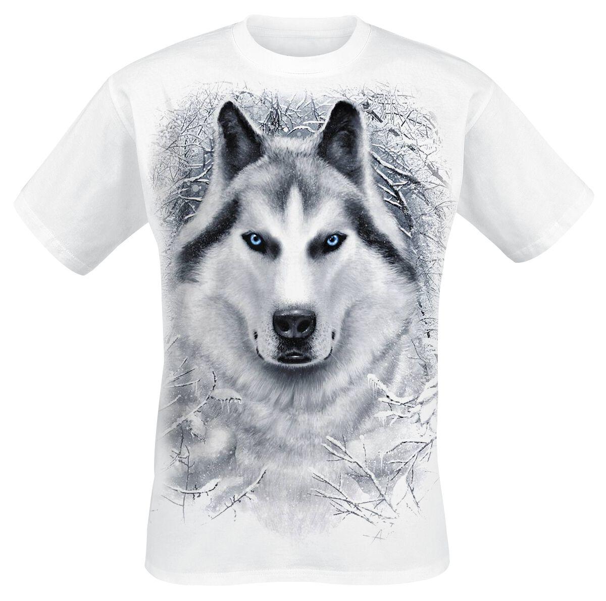 White wolf   spiral   t shirt   mannen   wit   100% katoen