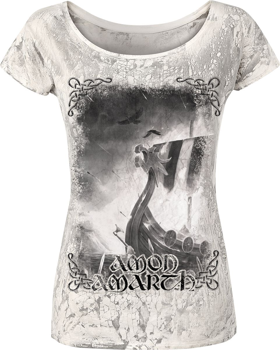 Image of   Amon Amarth One Thousand Burning Arrows Girlie trøje lys grå