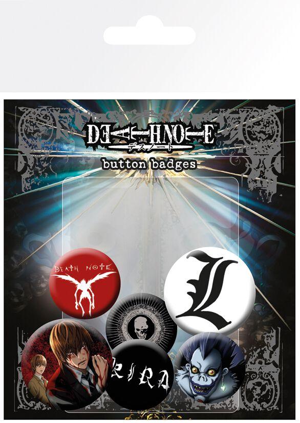 Merch dla Fanów - Przypinki - Zestaw przypinek Death Note Mix Zestaw przypinek standard - 326345