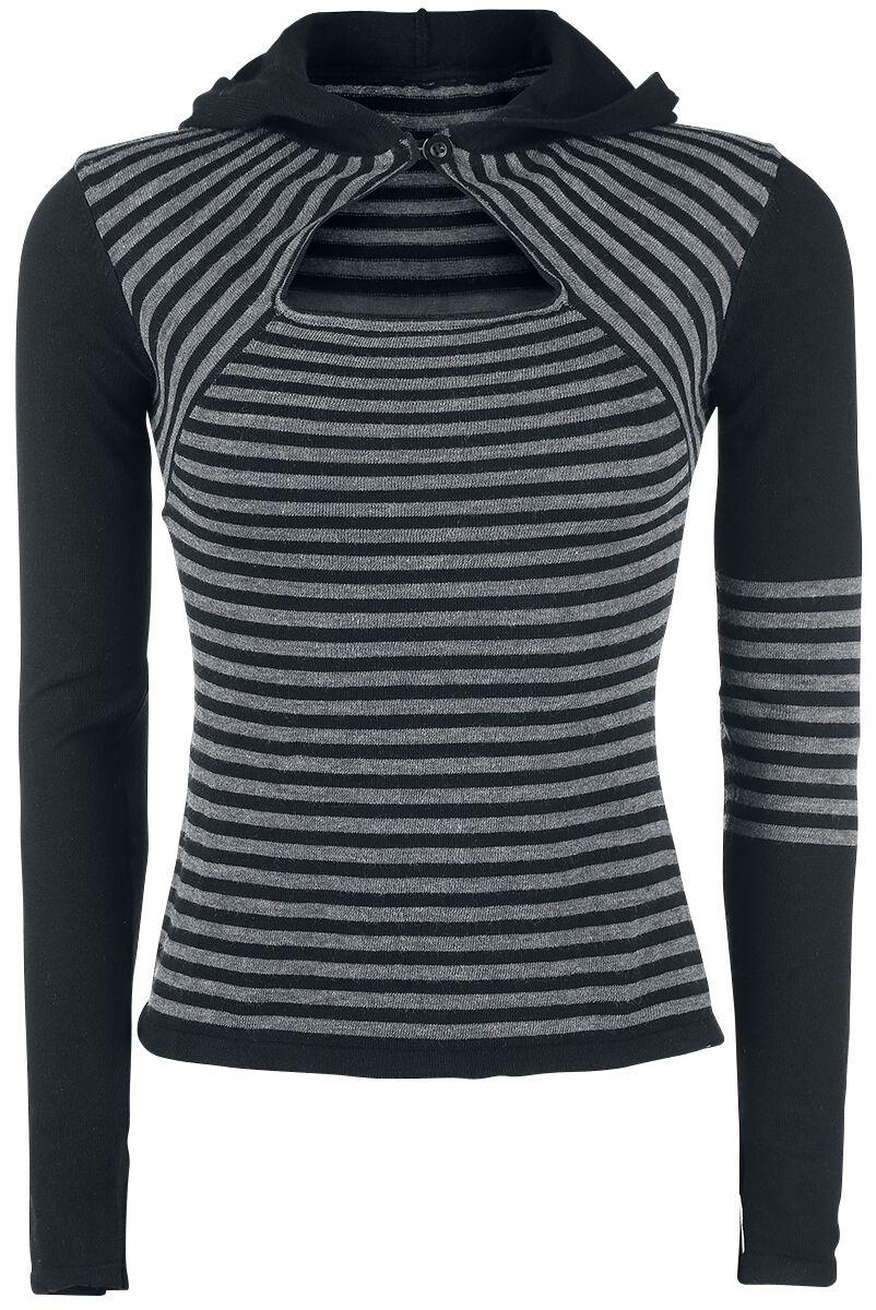 Marki - Bluzy - Sweter damski Pussy Deluxe Knit Stripes Hoodie Sweter damski szary/czarny - 326721