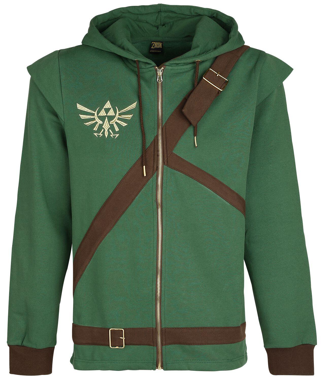 Image of   The Legend Of Zelda Cosplay Zip-Hoodie Hættejakke grøn-brun