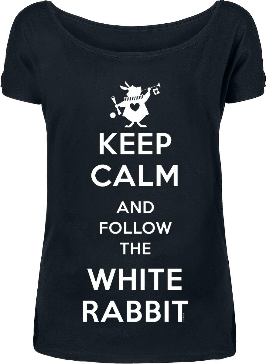 Image of   Alice i Eventyrland Keep Calm And Follow The White Rabbit Girlie trøje sort