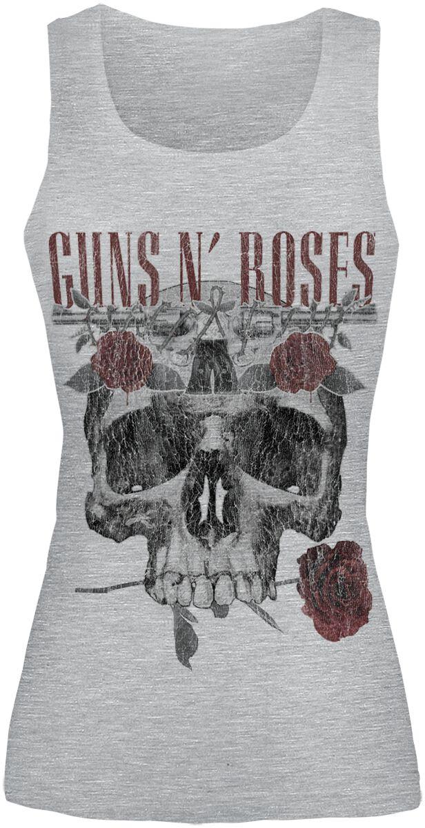 Image of   Guns N' Roses Flower Skull Girlie top grå