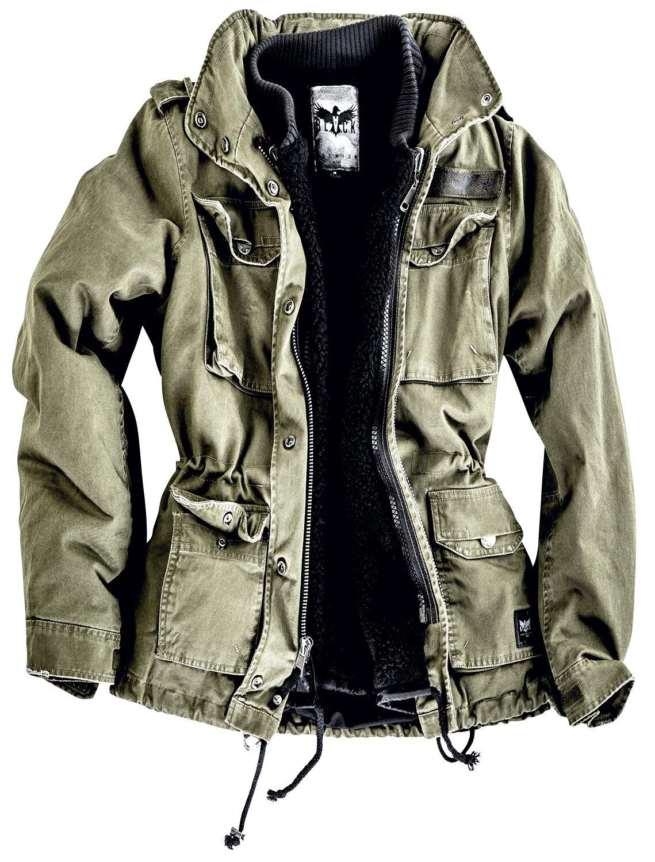 Ladies army field jacket   black premium by emp   winterjas   vrouwen   olijf   100% katoen