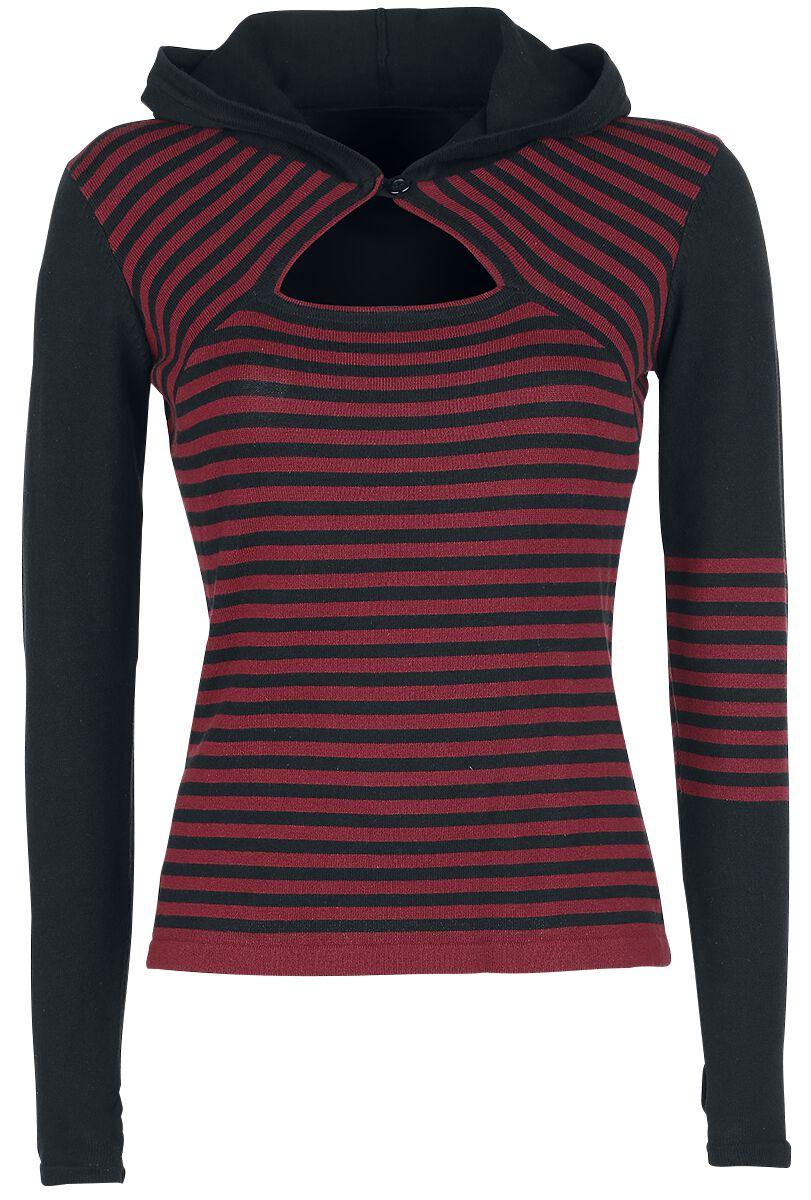 Marki - Bluzy - Sweter z dzianiny Pussy Deluxe Knit Asymetric Hoodie Sweter z dzianiny czerwony/czarmy - 328377