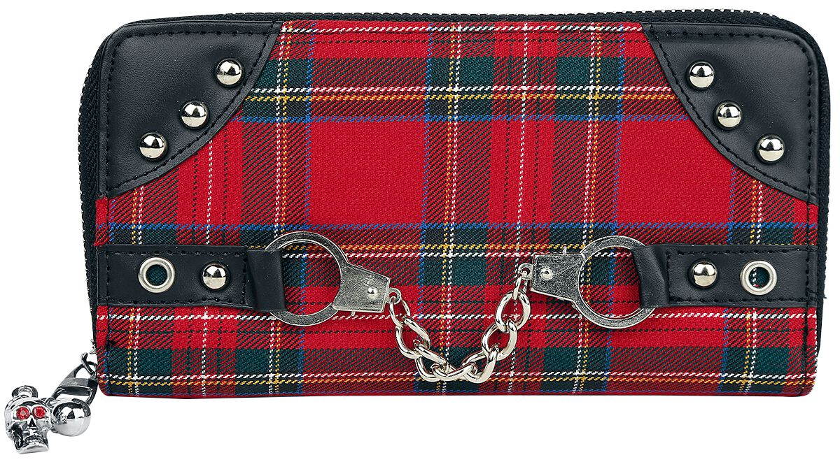 Image of   Banned Red Tartan Wallet Pung sort-rød