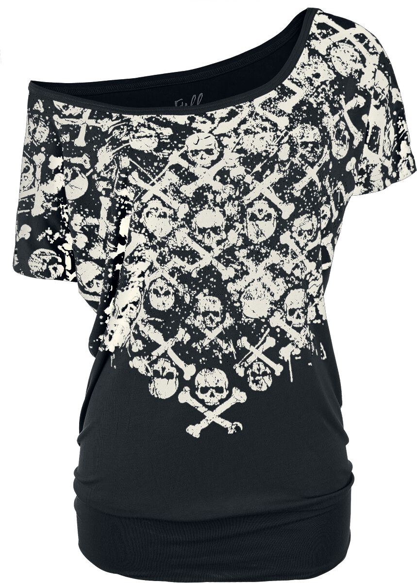 Image of   Full Volume by EMP Crossbones Skully Shirt Girlie trøje sort