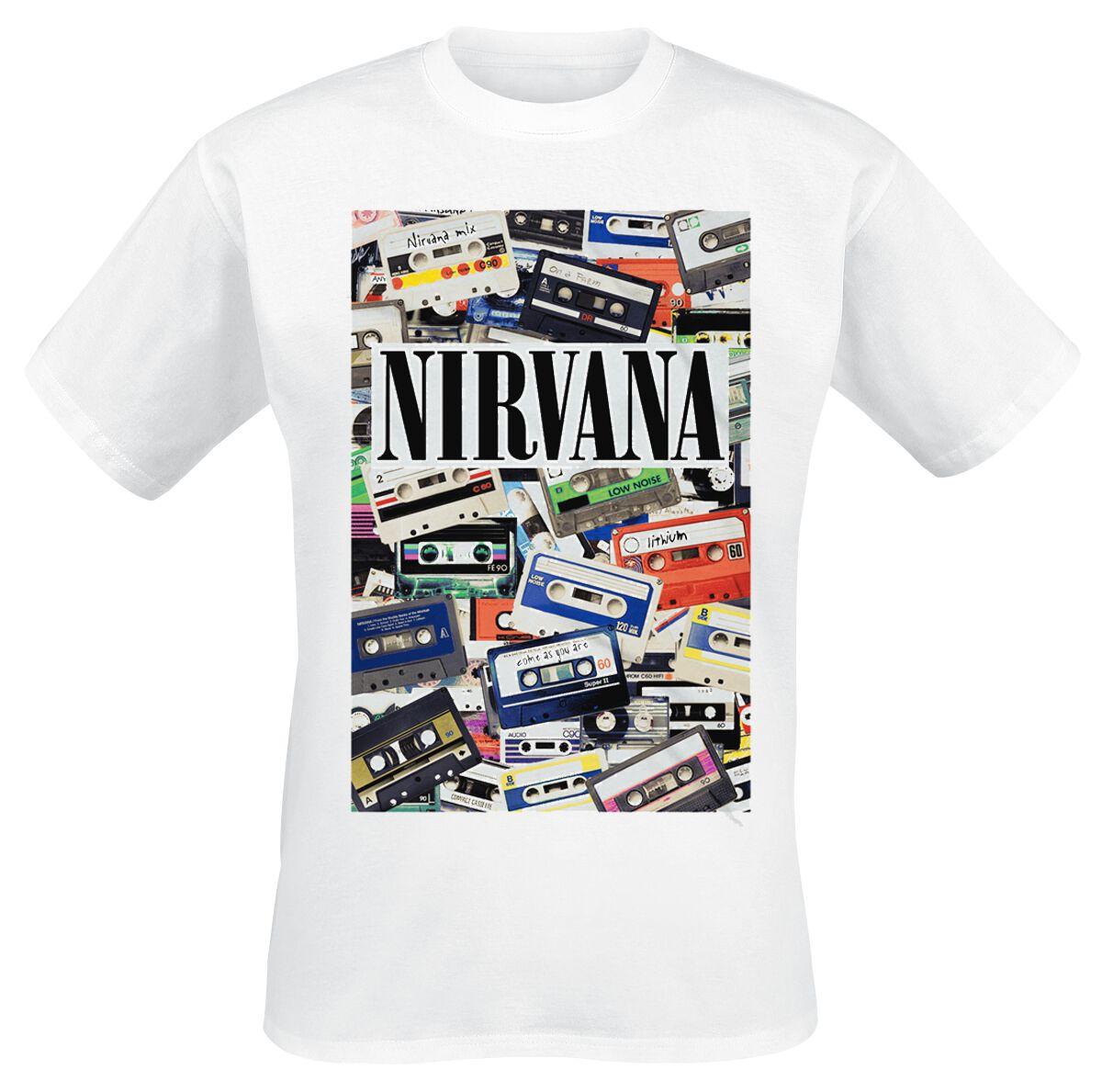 Zespoły - Koszulki - T-Shirt Nirvana Cassettes T-Shirt biały - 329841