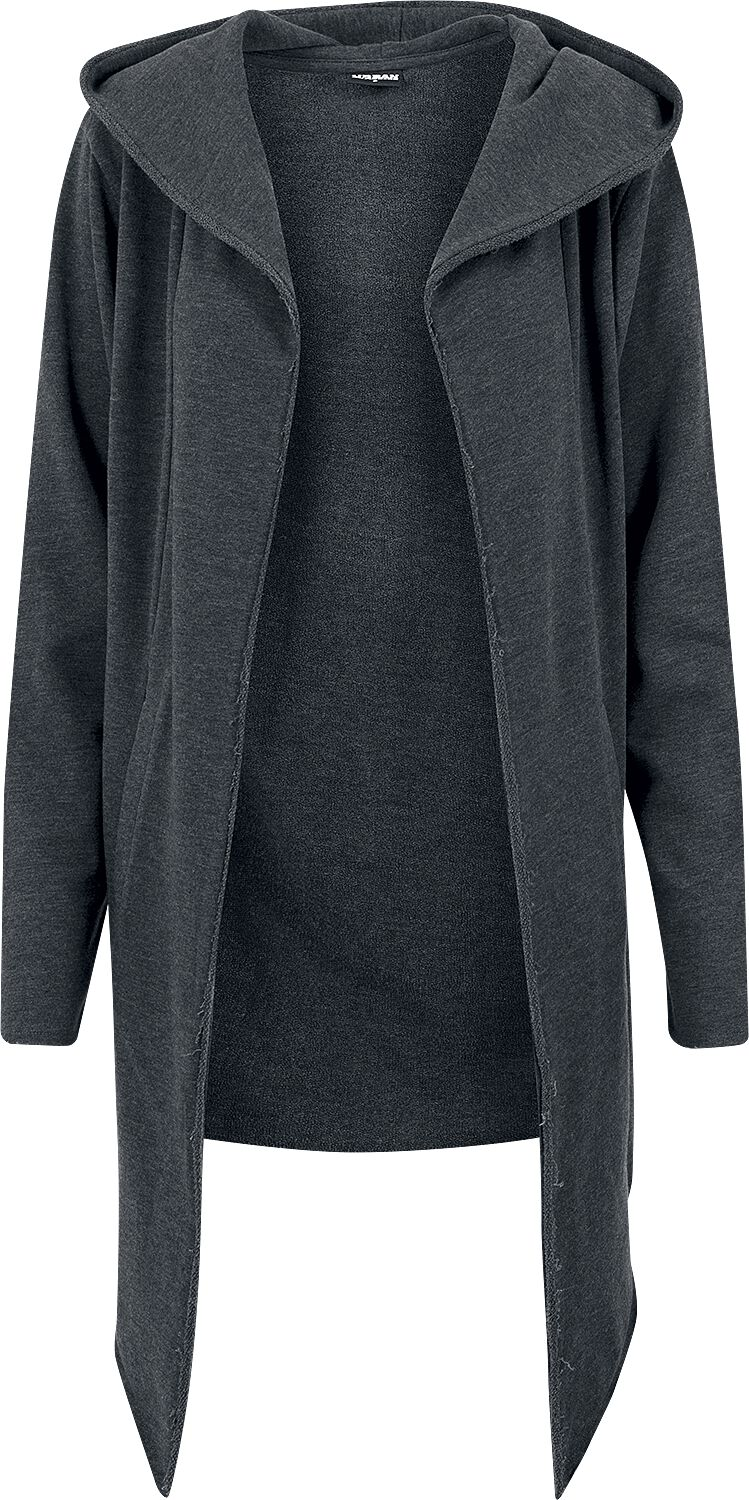 Image of Urban Classics Long Hooded Open Edge Cardigan Cardigan charcoal