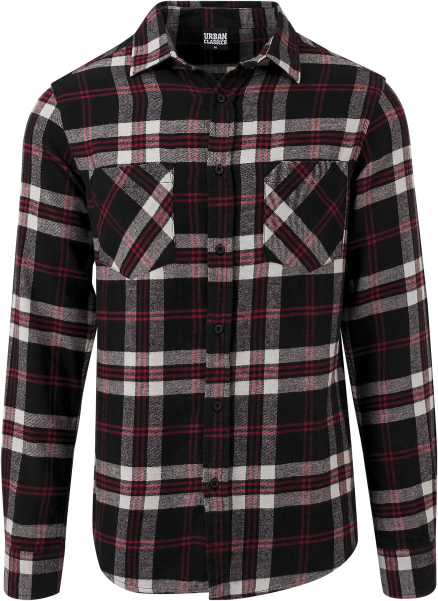 Image of   Urban Classics Checked Flanell Shirt 3 Skjorte sort-hvid-rød