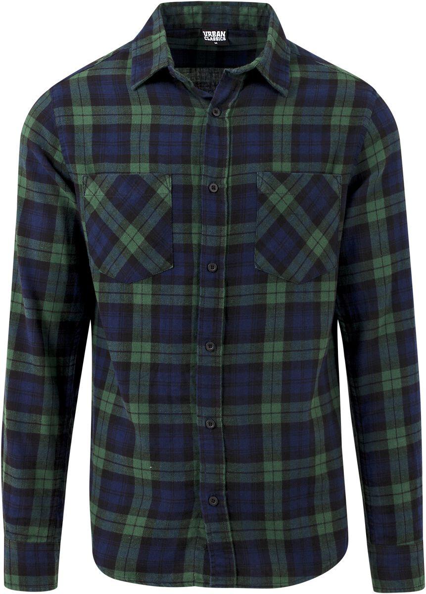 Image of   Urban Classics Checked Flanell Shirt 3 Skjorte grøn-blå
