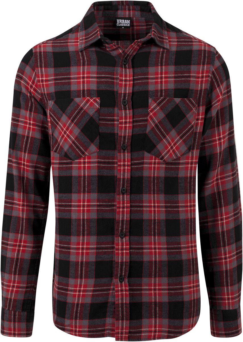 Image of   Urban Classics Checked Flanell Shirt 3 Skjorte rød-grå