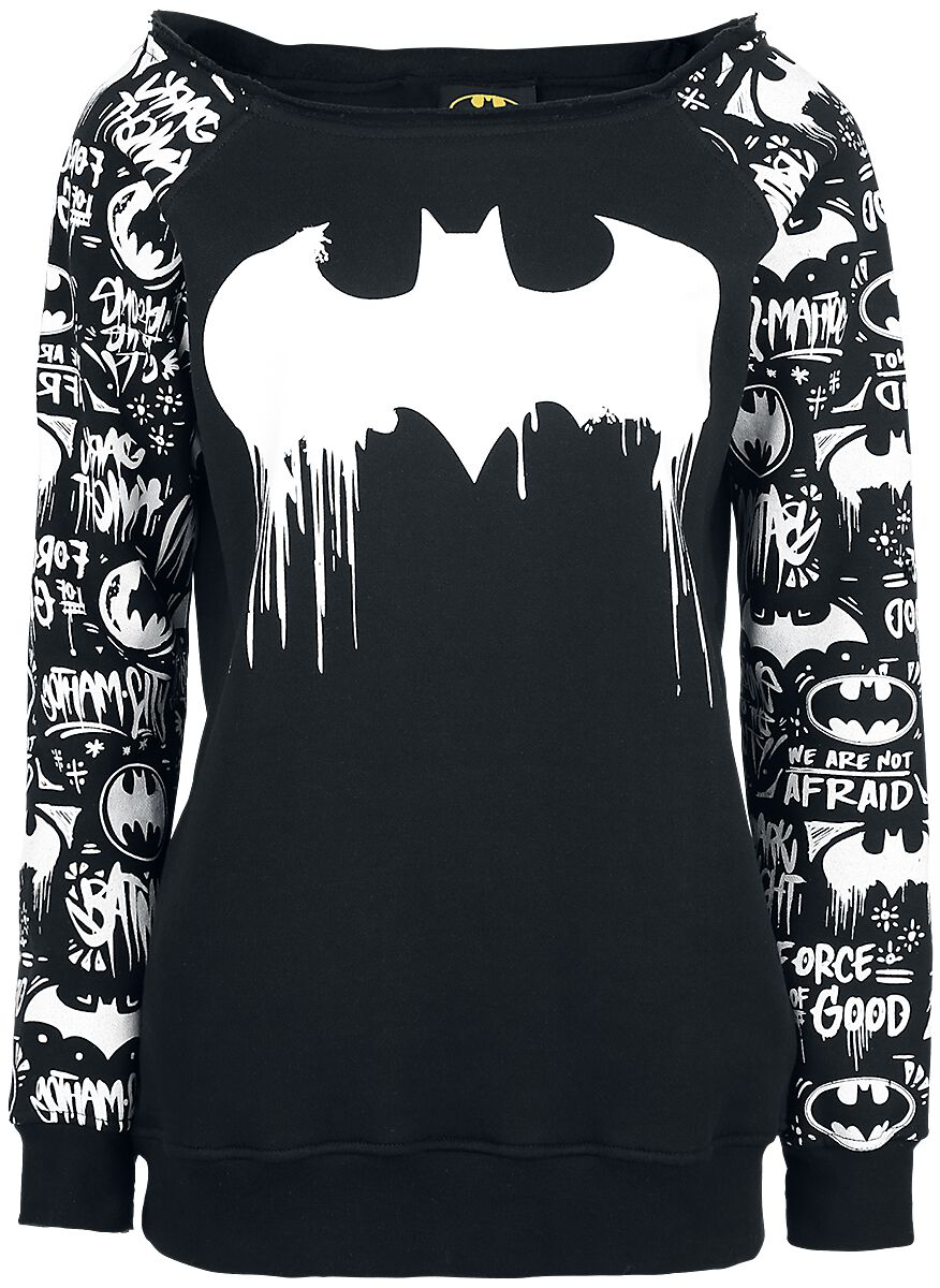 Image of   Batman Graffiti Girlie sweatshirt sort-hvid