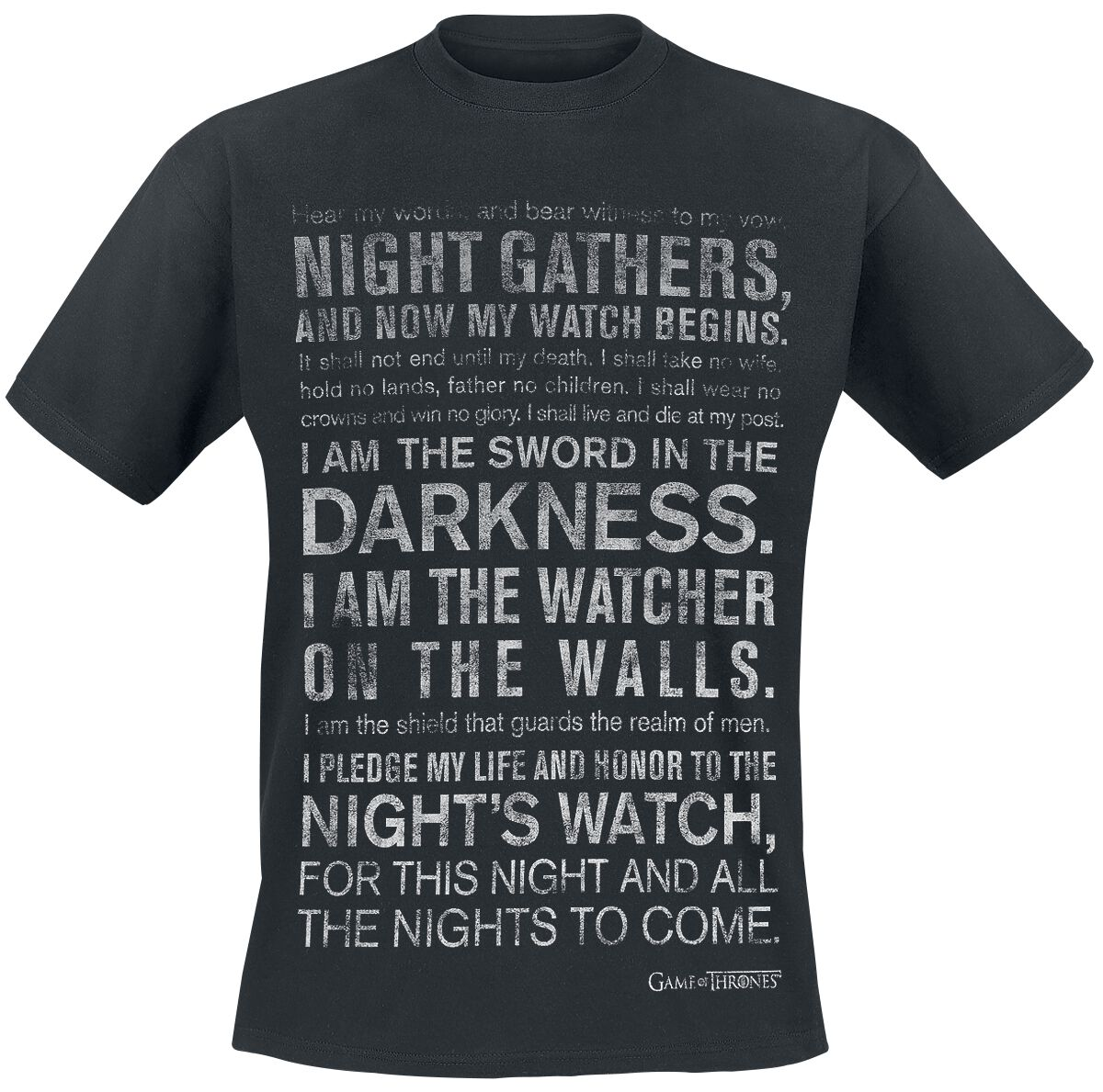 Image of   Game Of Thrones GOZOO - Night's Watch Oath T-Shirt sort